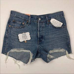 NWT Levi's 501 straight leg cut off jean shorts